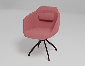 3D ULTRA - Swivel trestle-based fabric chair with armrests