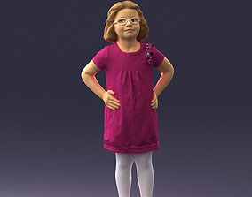 3D model Little girl in a pink sundress and glasses 0163