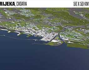 Rijeka Croatia 50x50km 3D model