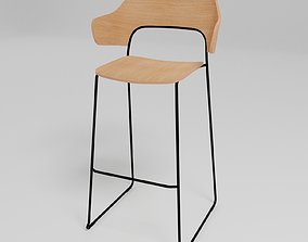 3D model AFI - Stackable sled base high stool with full 1