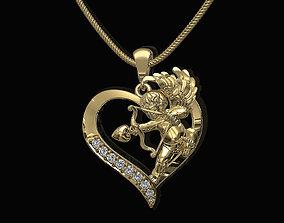 3D printable model Cupid in heart pendant