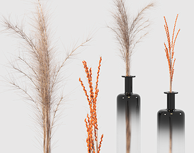 3D Decorative set of dry wind and ears of wheat