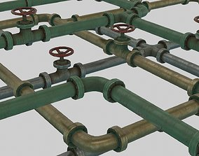 Low Poly Modular PBR Pipe Asset Collection 3D model