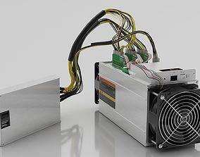 Antminer Cryptocurrency Mining Hardware and Power 3D