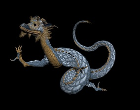 Blue Eastern Dragon 3D