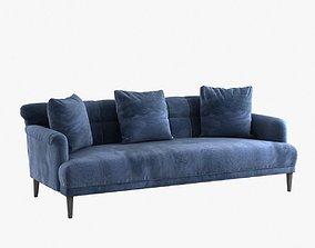 3D model Custom made blue velvet sofa with pillows