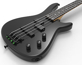 3D Black 4 Strings Bass Guitar