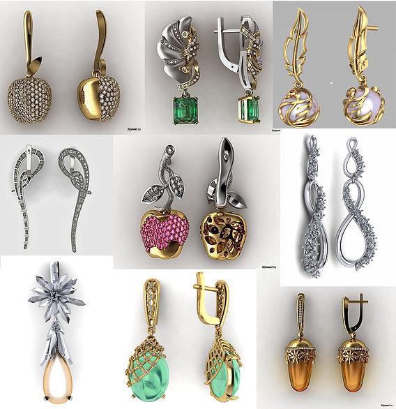 Dangle & drop earrings 3dprint model