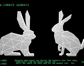 Low poly rabbit symbols 3D model