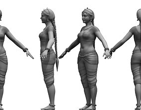 indian dancing folk girl 3d model