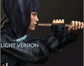 3D model animated Ninja Onna Light Version