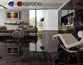 Bkack Marble Living in cinema 4D and Corona 3D model