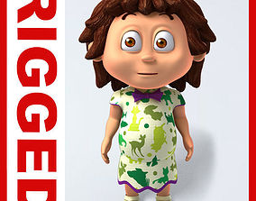 3D Girl baby cartoon rigged 04