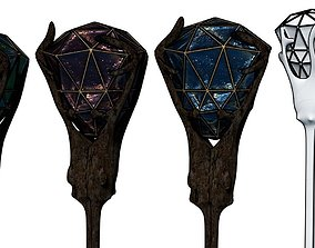 Gem Stone Forest Staff Wood Wizard Mage 3D model 2