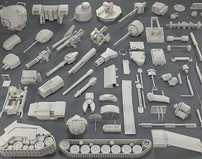 Tank Parts - 60 pieces - collection-3 3D model