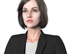 3D asset Female Full Rigged with 2 Hairstyles and 3