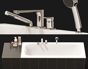 Villeroy and Boch Bathtub and Tap with Cosmetics 3D
